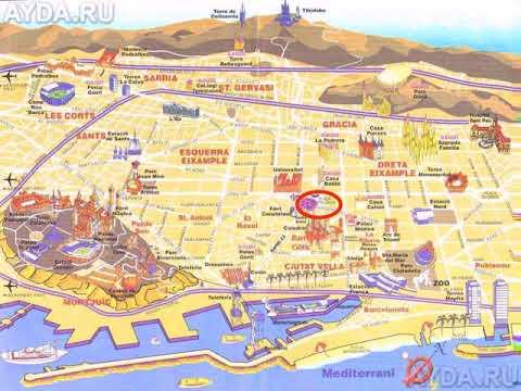 карта барселоны с достопримечательностями