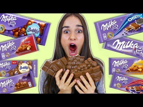 PROVANDO MUITAS BARRAS DE CHOCOLATE!!!!!! 😱 (MILKA!)