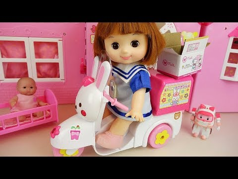 Baby doli and rabbit scooter baby doll delivery car surprise toys play