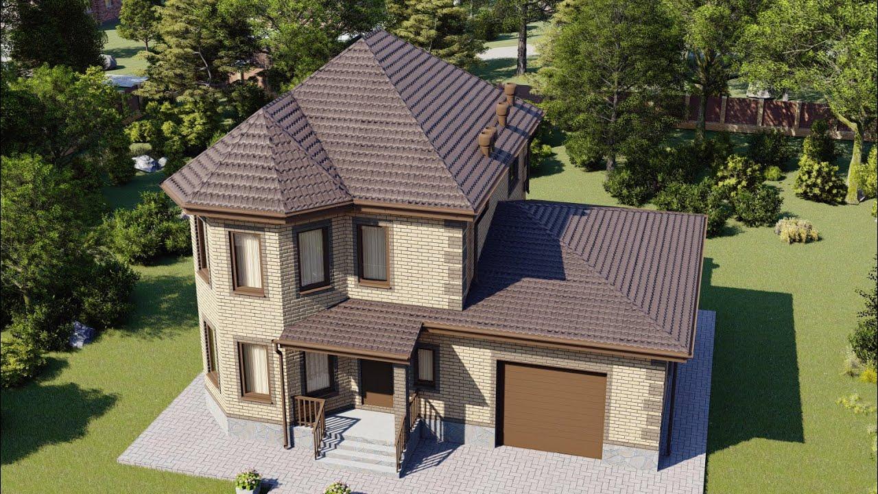 Проект двухэтажного дома, площадью 150 м2, с эркером