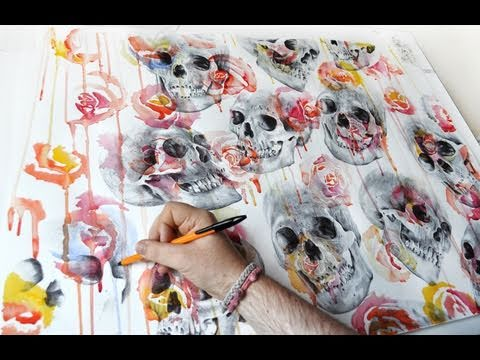 painting skulls and flowers by paul alexander