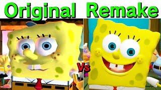 Spongebob Squarepants Battle for Bikini Bottom Rehydrated vs Original 100% Secret Ending Comparison