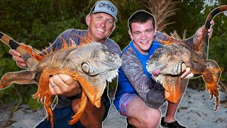 Hunting GIGANTIC WILD IGUANAS with High Powered AIR GUNS! (Ft. Deer Meat For Dinner)