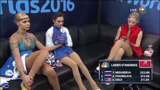 Evgenia Medvedeva - green room after LP Worlds 2016 (NBC)