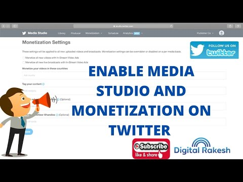 How to enable media studio and monetization on twitter