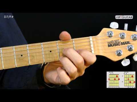 Gitarrenakkorde: D-7/F# - D7/F# chord