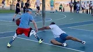 Professor vs Trash Talker 1v1 for $100.. EPIC beach court - dooclip.me