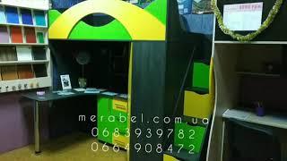 Детская кровать-чердак с рабочей зоной, угловым шкафом, тумбой и лестницей-комодом КЛ21-13-3 ЭКО Merabel от компании Мерабель - видео