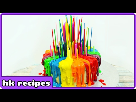 Rainbow Cake with Melting Candles Tutorial | Birthday Cake Decorating Tips by Hoopla Recipes