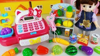 Mart register Baby doll and mart fruit shop toys food play - ToyMong TV 토이몽