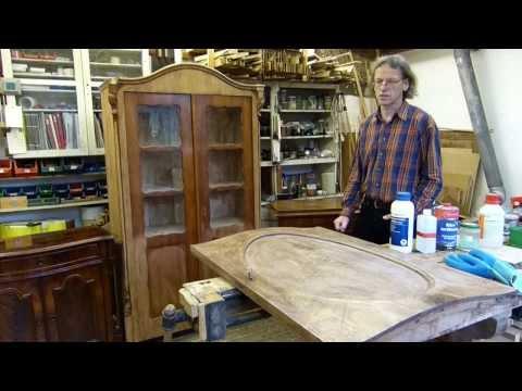 Schellackpolitur Teil 10, alte Schellackpolitur regenerieren, aufpolieren, auffrischen, säubern