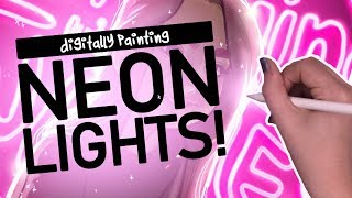 PLAYING WITH LIGHTING & NEONS! | Digitally Painting Neon Lights in Adobe Fresco & Photoshop