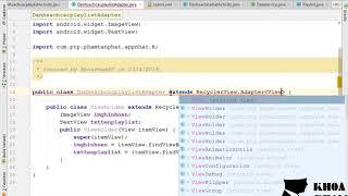 Bài 35: Custom adapter và gắn dữ liệu lên màn hình danh sách các playlist