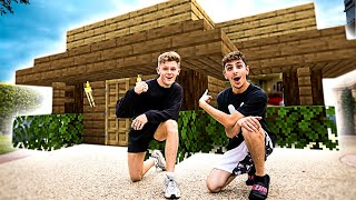 We Spent 24 Hours in a REAL LIFE Minecraft House!