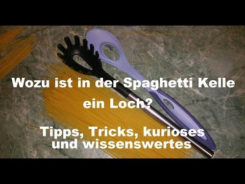 Wozu ist in der Spaghetti Kelle ein Loch? - Optimale Dosierung für 1 Portion Spaghetti - Löffel