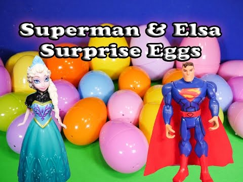 HUGE SURPRISE EGGS Disney Frozen Elsa + Superman Funny Birthday  Surprise Egg Toys Video