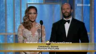 Jennifer Lopez Gives Award To Adele For 'Skyfall'   Golden Globes 2013