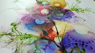 Alcohol Ink / Acrylic Ink  Fluid Art Abstract Painting Tutorial 118