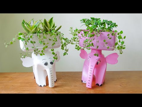 Amazing Ideas, Make Beautiful Plant Pots From Discarded Plastic Bottles