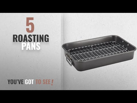 Top 10 Roasting Pans [2018]: Farberware Nonstick Bakeware 11-Inch x 15-Inch Roaster with Flat Rack,