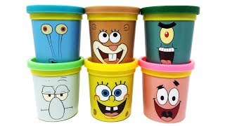Funny Play-Doh Can Heads Toys SpongeBob SquarePants Patrick Squidward Snail Sandy Plankton