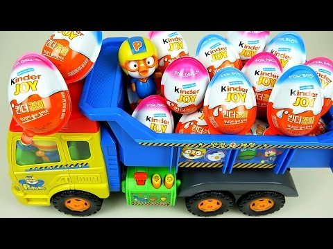 Kinder Joy Surprise eggs and Pororo truck toys