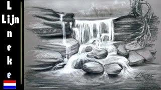 WATERVAL Voor Beginners Houtskool Potlood Tekening