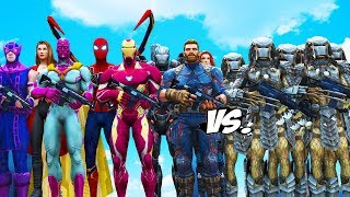 THE AVENGERS VS PREDATOR ARMY - Iron Man, Spider-Man, Captain America, Black Widow vs Predator