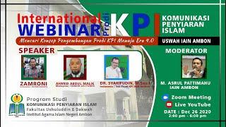 WEBINAR INTERNASIONAL PROGRAM STUDI KOMUNIKASI PENYIARAN ISLAM