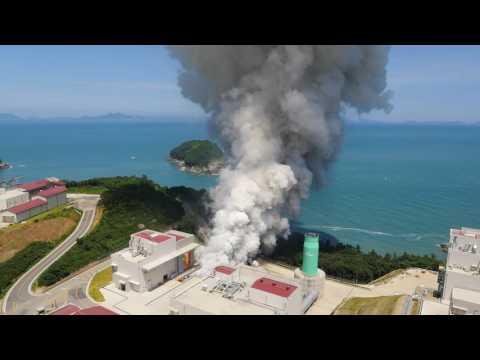 한국형발사체 75톤급 액체엔진 시험모델 1호기 목표 연소시간(145초) 연소시험 수행 헬리캠