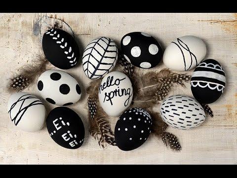 Ostereier im Schwarz/Weiß Trend mit Tafel-Lack und Keramik-Effekt Farbe