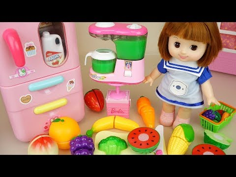Baby Doli and fruit juice maker with refrigerator toys baby doll play