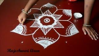 latest kolam rangoli designs with 7 dots for Diwali - big  muggulu for beginners by Rajeshwari Arun