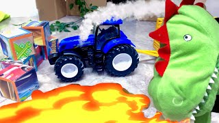 Синий трактор едет на ферму Малыш спасает животных от динозавра Сонный трактор потерял животных