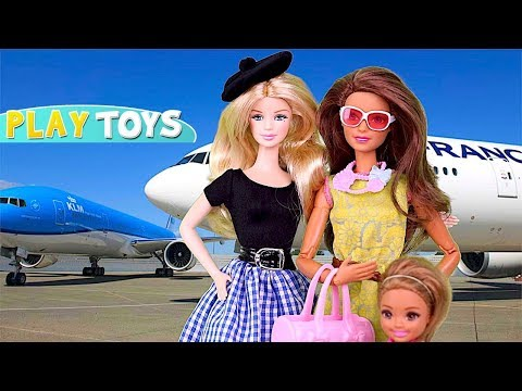 Barbie Doll Chelsea Travel Routine for Airplane Trip! 🎀