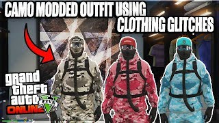 GTA 5 Online - CAMO MODDED OUTFIT USING CLOTHING GLITCHES Patch 1.43 (GTA 5 Glitches)