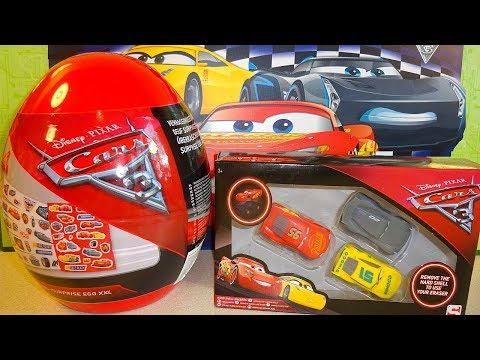 2018 New Disney Cars 3 XXL Giant Surprise Egg & 3D Figures Mystery Box