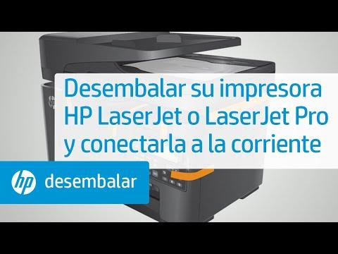 Desembalaje y conexión de su impresora HP LaserJet a la alimentación