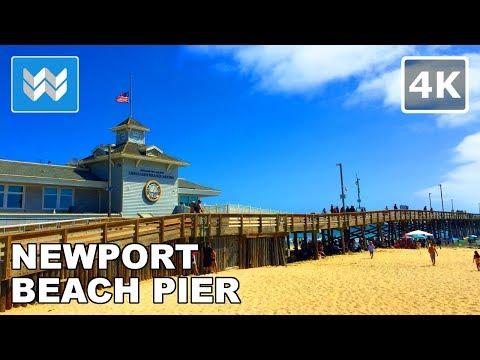 Walking tour of Newport Beach Pier in Orange County, California 【4K】