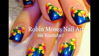 Easy Rainbow Flower Nails | Diagonal French Manicure Nail Art Design