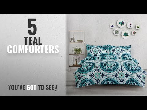 Top 10 Teal Comforters [2018]: Teal Comforter Set Queen, 3-Piece Turquoise Bohemian Boho chic