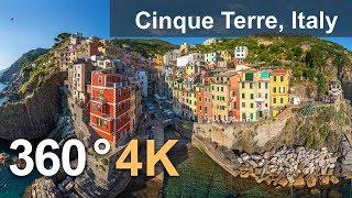 360°, Cinque Terre, Italy. 4K aerial video