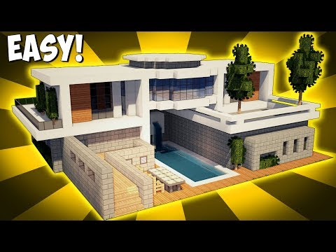 Minecraft how to build a large modern house tutorial for Big modern houses pictures