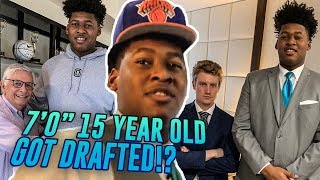 """7'0"""" 15 Year Old Jahzare Jackson Pretends He Got Drafted By The KNICKS! Links With 7'7"""" Tacko Fall!"""