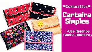 DIY Carteirinha Simples Com Retalhos - English Subtitles - DIY Easy Wallet - Free Pattern
