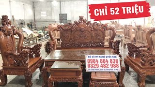 Bộ Bàn Ghế Nghê Bảo Đỉnh Gỗ Hương Đá ( 52 triệu)