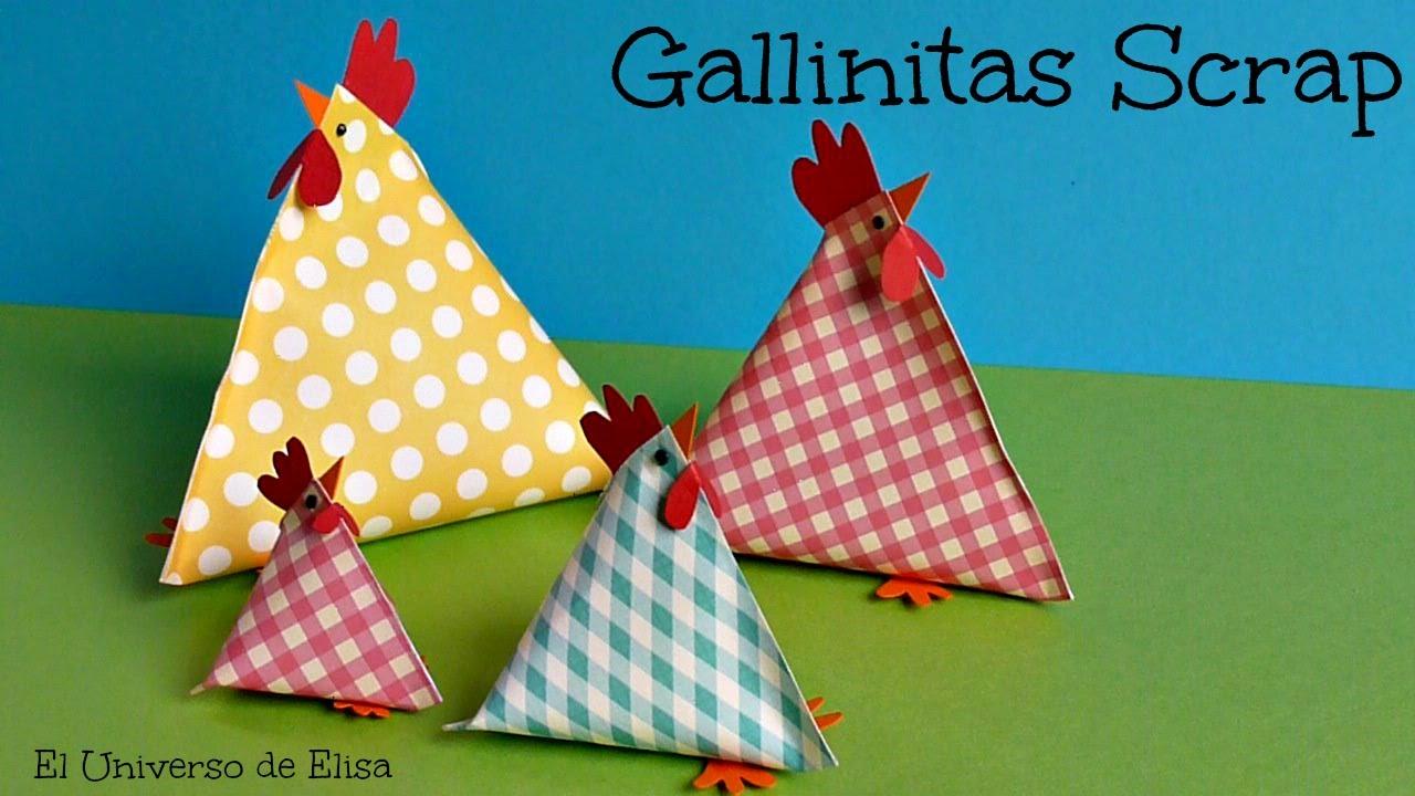 Manualidades para Pascua, Decoración para Pascua, Gallinas Scrap, Dulcero