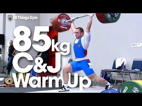 85kg Warm Up Area Clean & Jerks Okulov Apti Aukhadov Tian Tao 2015 World Weightlifting Championships