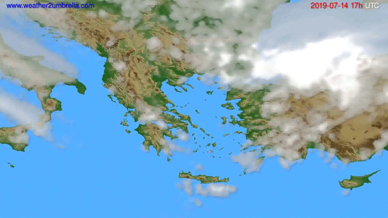Cloud forecast Greece // modelrun: 00h UTC 2019-07-13