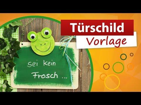 Türschild Vorlage - Frosch 🐸 basteln für den Sommer ☀ trendmarkt24 DIY Bastelideen